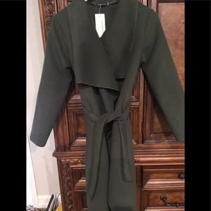 Made in Italy MODA Belted Waterfall Coat Green